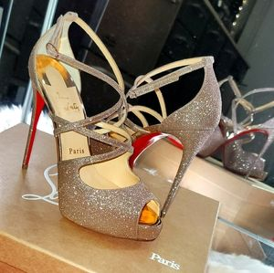 Christian Louboutin Holly Alta 120 Rose Gold Glit